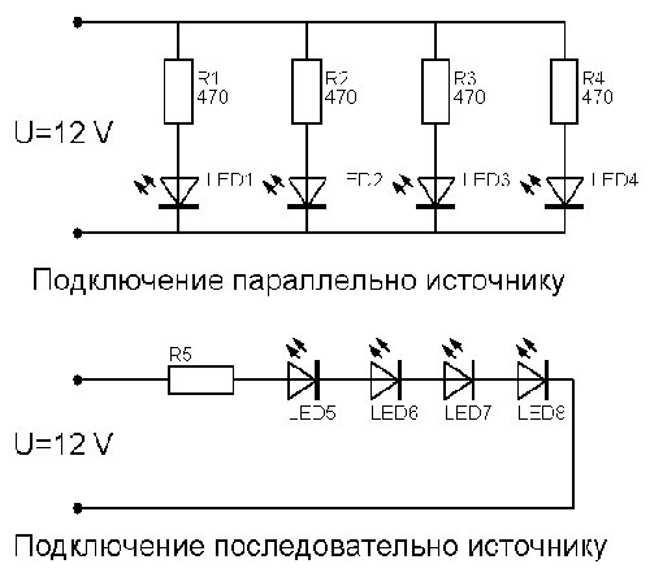 Подключение светодиодной подсветки в авто через резистор