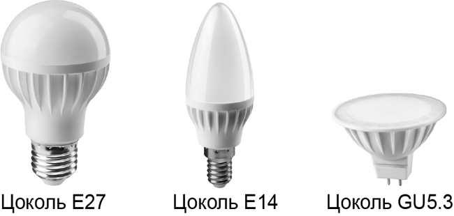 Типы цоколей лед ламп