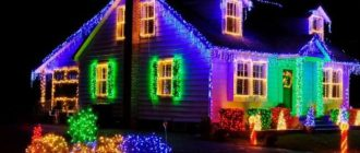 дом в светодиодных гирляндах