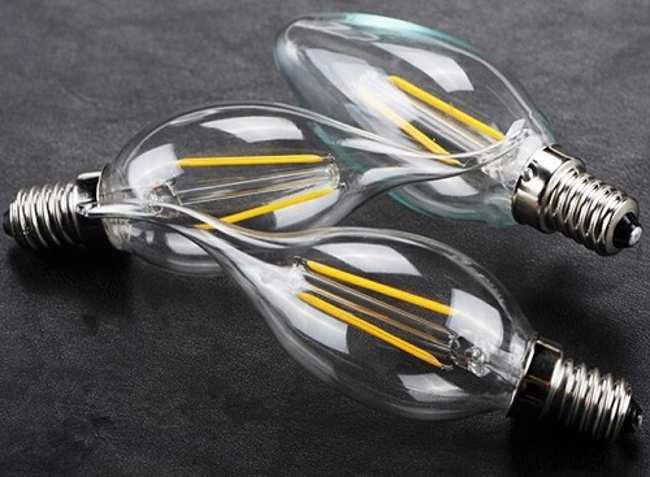 Филаментные светодиодные лампы в форме свечи