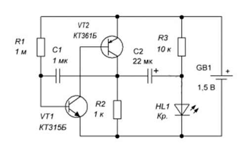 схема мигалки на батарейке