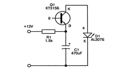 схема простой светодиодной мигалки