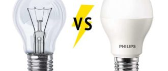 светодиодная лампа и лампа ильича