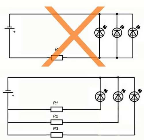 неправильное подключение светодиодов параллельно