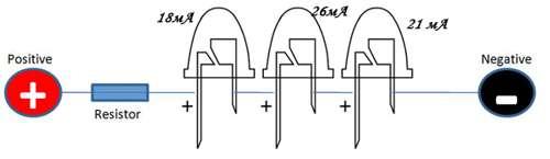 последовательное подключение светодиодов с различным током потребления