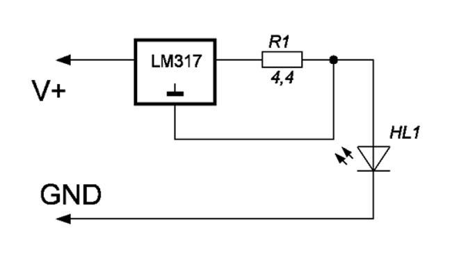 схема простого драйвера на микросхеме LM317