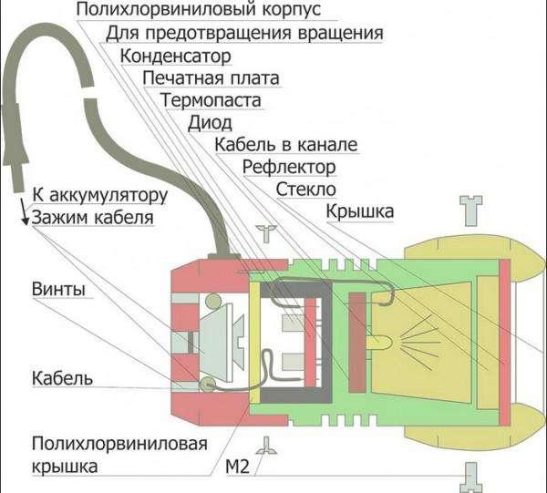 схема китайского светодиодного фонарика