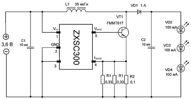 схема простого драйвера светодиода