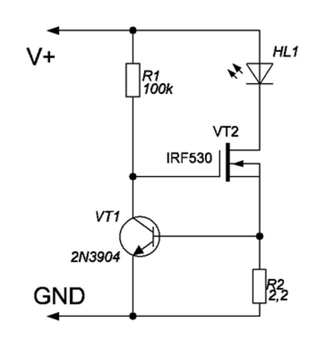 схема простого светодиодного драйвера