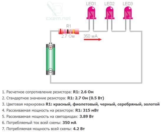 пример расчета сопротивления для светодиода калькулятором