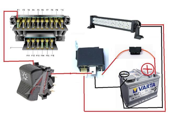 Схема подключения светодиодной балки в авто