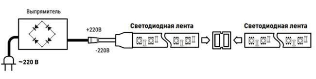 Схема подключения светодиодной ленты к сети 220 вольт