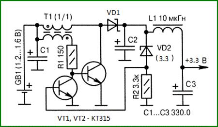 схема подключения светодиода от пальчиковой батарейки