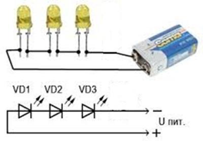 схема питания от батарейки крона