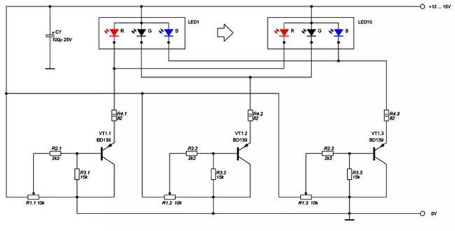 схема управления цветами rgb светодиода