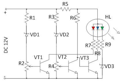схема индикатора напряжения на RGB светодиоде