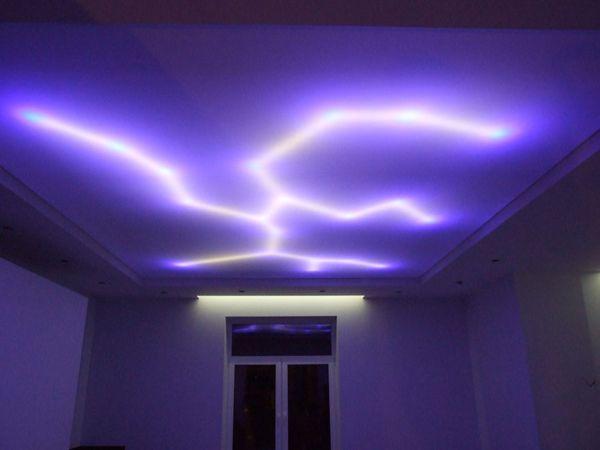 вариант подсветки натяжного потолка светодиодной лентой
